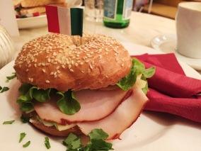 Yummy turkey bagel sandwich at Caffe Piemonte