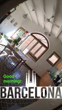 Snapchat of Barcelona Airbnb kitchen