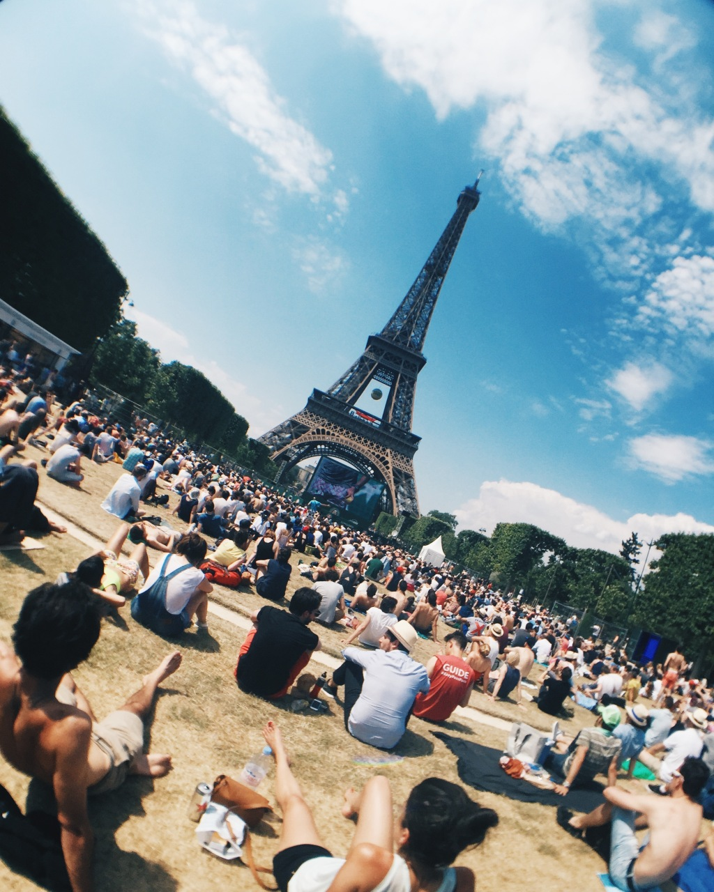 Roland Garros French Open outdoor tennis viewing at the Eiffel Tower