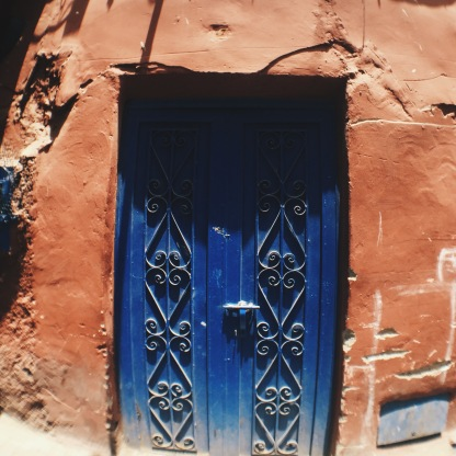 Blue door while walking through Riad Laarouss