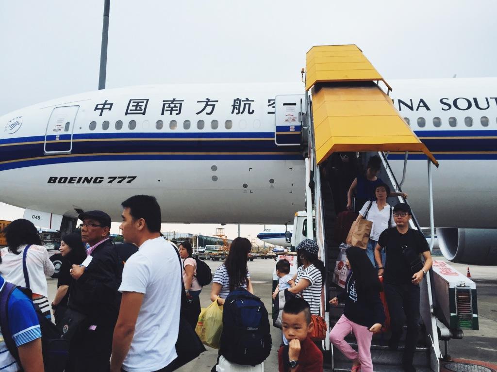 Disembarking the plane at Guangzhou