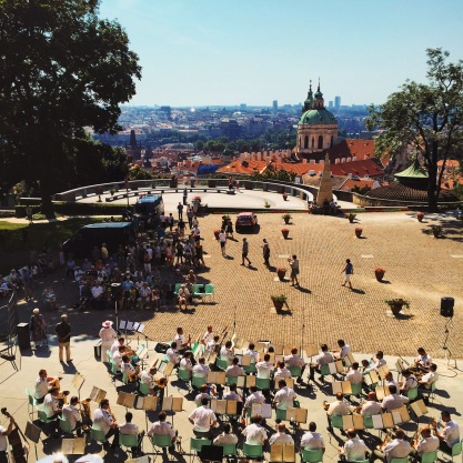 Band performance overlooking Prague from the castle