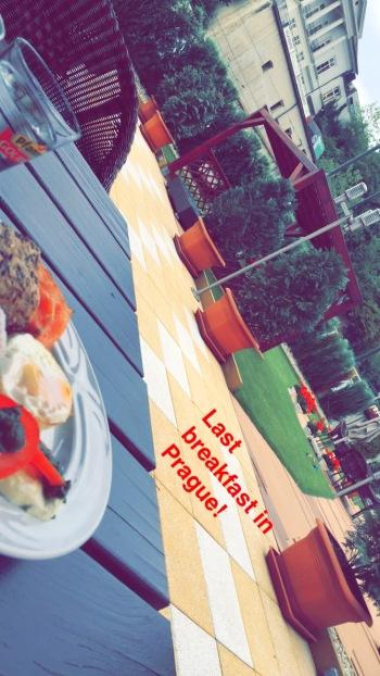 Snapchat of final breakfast at Hotel Hoffmeister