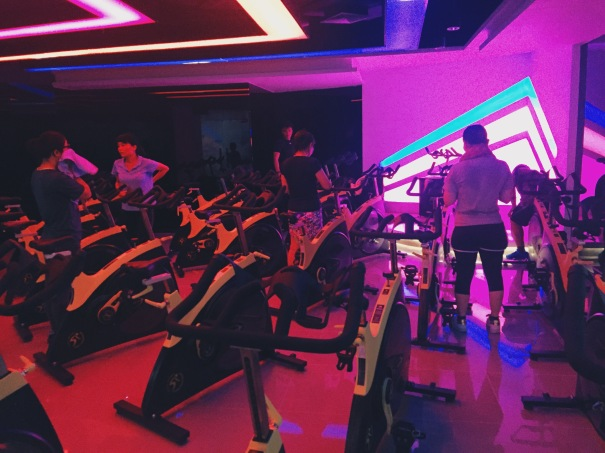 Spinning class at Weyoung Fitness Club in Guangzhou