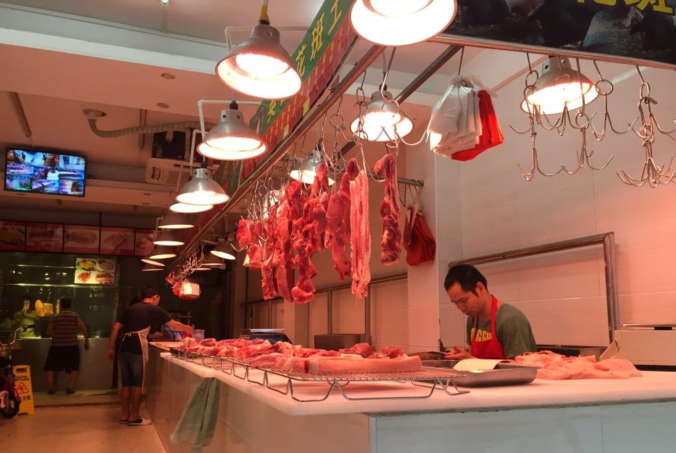 Raw meat in shop in Guangzhou