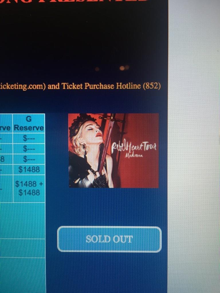 Madonna HK tickets