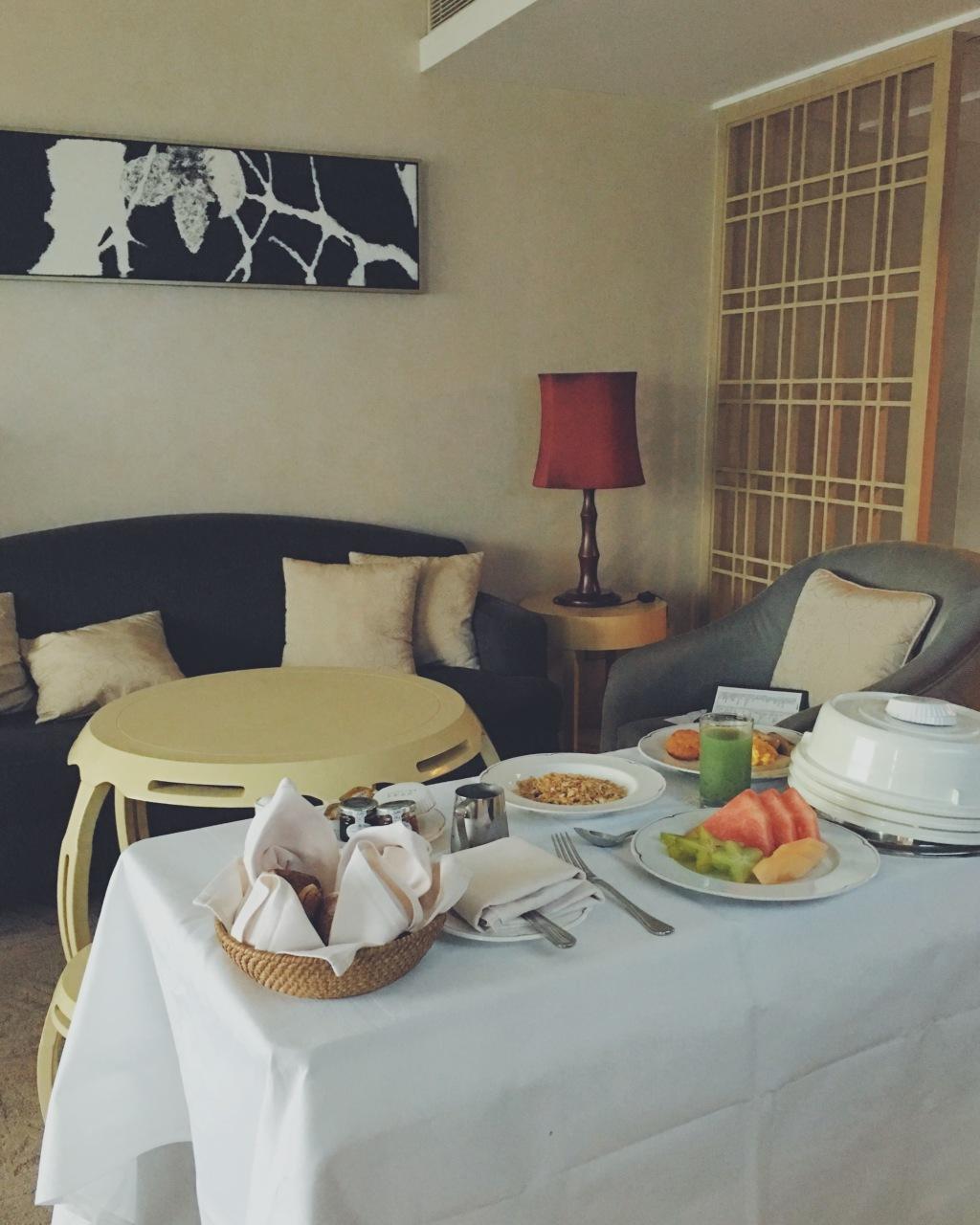 Garden Hotel room service breakfast