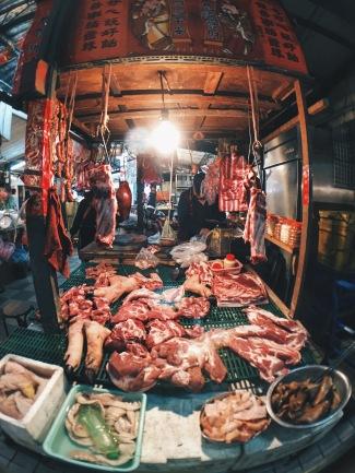 Raw meat at Taipei market