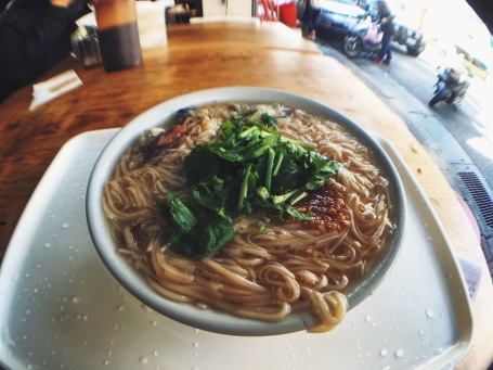 Oyster and scallion noodle in Taipei