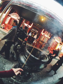 Praying at Longshan Temple Taipei
