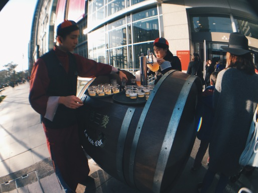 Free beer samples outside Eslite Bookstore in Taipei