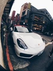 Porsche parked among the streets of Gongguan, Taipei