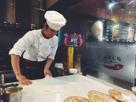 Naan bread making at Food Republic in GZ East Railway station