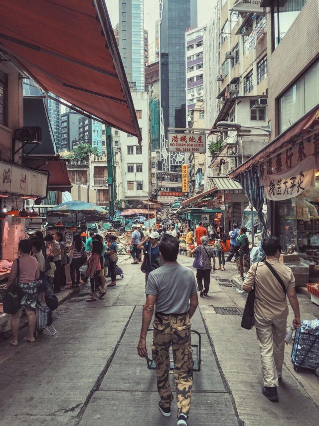 Wet market streets of Hong Kong
