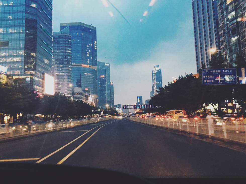 View of Tianhe at dusk from BRT bus