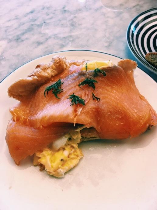 PizzaExpress smoked salmon croissant breakfast