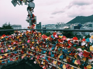 Love locks at Busan Tower