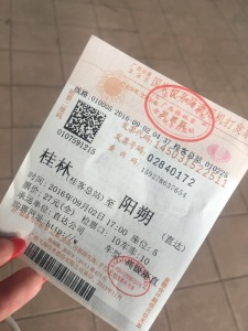 Bus ticket for Yangshuo from Guilin