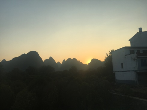 Sunset view on the bus from Guilin to Yangshuo