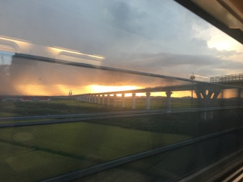 Sunset on the KTX to Seoul