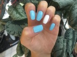 Blue and white manicure