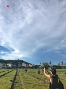 Flying a kite for the first time!