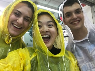 That time when we encountered a sudden rainstorm and had to get ponchos to walk 5 minutes to class.
